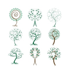 Set of decorative trees for design vector image