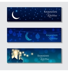 Set of Islamic headers vector