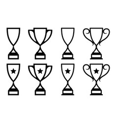 set trophy monoline vector image