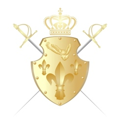 Shield crown and two swords vector image