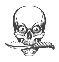 Skull with eyes and knife in teeth vector