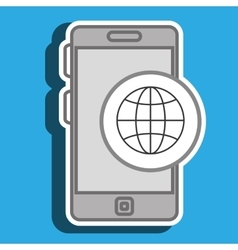 Smartphone and connection world isolated icon vector
