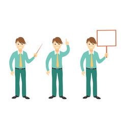 Successful young businessman characters set vector