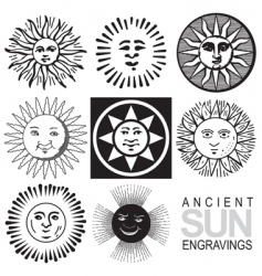 sun icons retro engraving vector image
