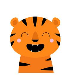 tiger roaring yawing cute cartoon kawaii funny vector image