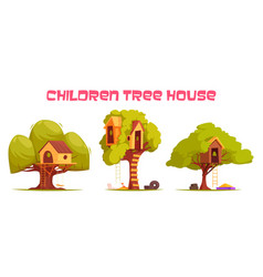Tree houses set vector