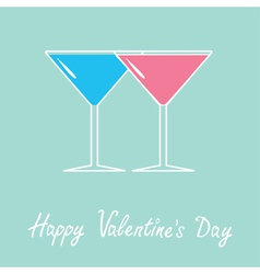 Two glasses of martini Happy Valentines Day vector