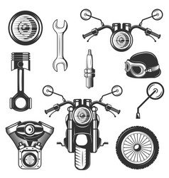 Vintage motorcycle icons symbols set vector