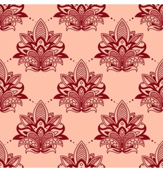 Vintage red flowers in persian seamless pattern vector