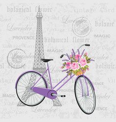 violet bicycle with a basket full flowers vector image