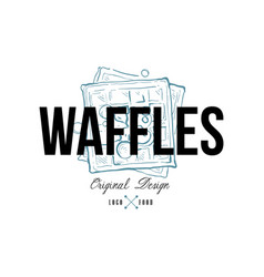waffles food logo original design retro emblem vector image