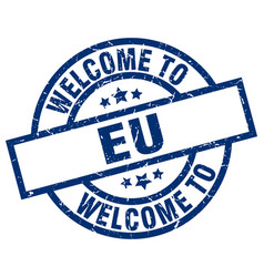 Welcome to eu blue stamp vector