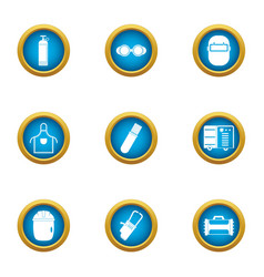 Welding business icons set flat style vector