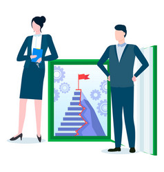 Woman and man near book career ladder to success vector