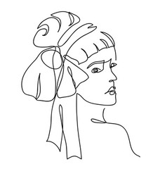 Woman from 20s with bow in her hair one vector