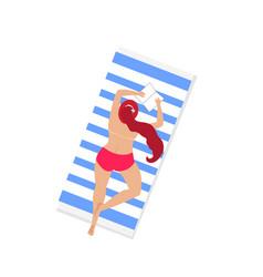 woman on beach sunbatopless isolated clip art vector image