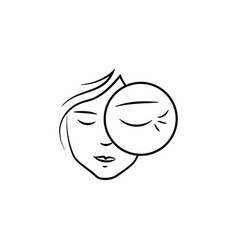 Wrinkles on eyes icon element anti aging vector