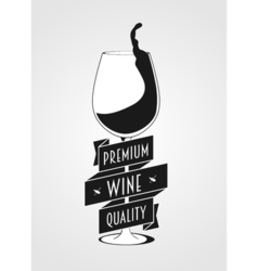 Logo concept with wine glass and typographic Wine vector image vector image