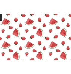 Strawberries and watermelon seamless vector image