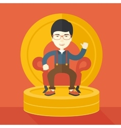 Successful japanese businessman smiling while vector image vector image