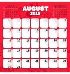 August Month Calendar 2015 vector image