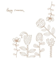 hand drawn floral template card vector image