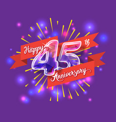 happy 45th anniversary glass bulb numbers set vector image vector image