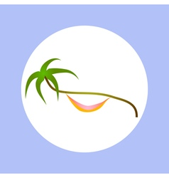 palm and hammock in circle vector image