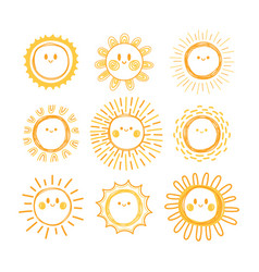 set of hand drawn sun symbols collection of vector image vector image