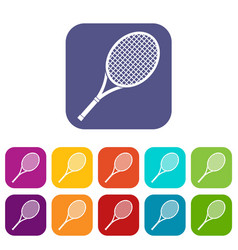 tennis racket icons set vector image vector image