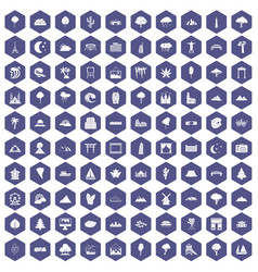 100 view icons hexagon purple vector image vector image