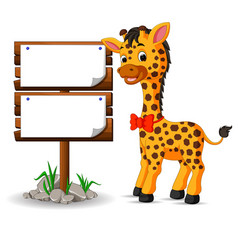 cute giraffe with blank sign vector image vector image