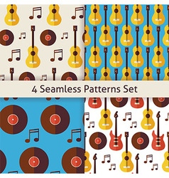 Four Flat Seamless Music Instrument Guitar Musical vector image vector image