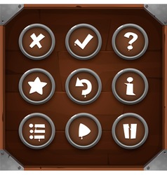 Game Icons on wooden background Set 2 vector image vector image