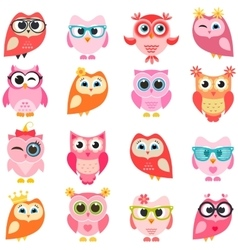 set of red and pink owls vector image vector image