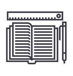 studyingopen book pen ruler line icon vector image