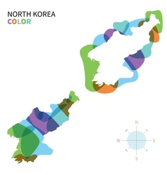Abstract color map of North Korea vector image