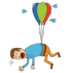 bird attacking man with balloon vector image vector image