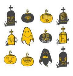 halloween emotions set vector image vector image