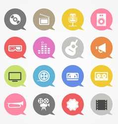 Media web icons set in color speech clouds vector image vector image
