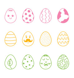 set collection of colorful doodle easter eggs vector image vector image