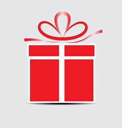The red gift box on a gray background vector image vector image