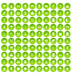100 street lighting icons set green circle vector