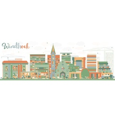 Abstract windhoek skyline with color buildings vector