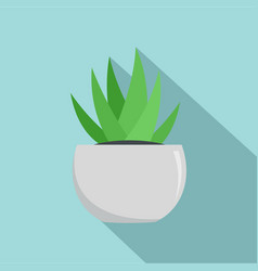 aloe in white pot icon flat style vector image