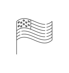 american flag line icon usa flag united states vector image