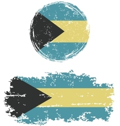 Bahamas round and square grunge flags vector