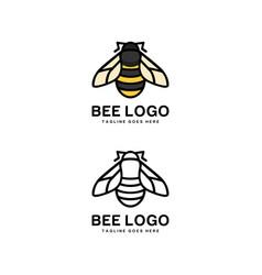 bee logo animal design vector image