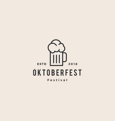 beer glass oktoberfest festival logo hipster vector image