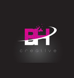 bh b h creative letters design with white pink vector image
